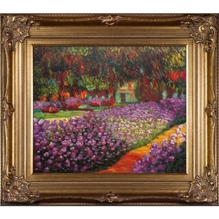 Claude Monet Artist's Garden at Giverny Hand Painted Framed Canvas Art