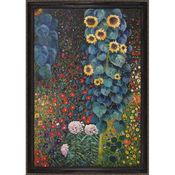 Gustav Klimt Farm Garden with Sunflowers Hand Painted Framed Canvas Art