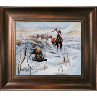 Charles Marion Russell Christmas Dinner for the Men on the Trail Hand Painted Framed Canvas Art