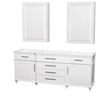 Wyndham Collection Berkeley 80-inch White Double Vanity, 24-inch Medicine Cabinets