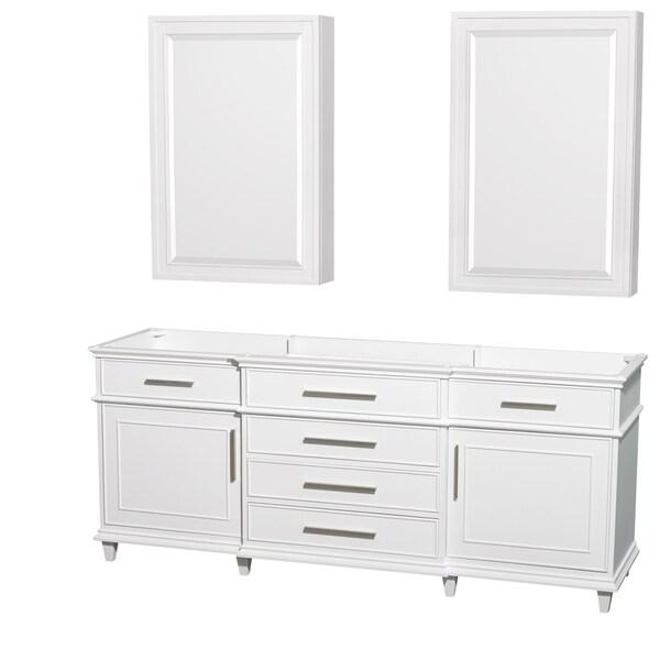 Wyndham Collection Berkeley 80 Inch White Double Vanity 24 Medicine Cabinets
