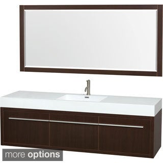 Wyndham Collection Axa 72-inch Single Bathroom Vanity, Acrylic-Resin Top, Integrated Sink, 70-inch Mirror