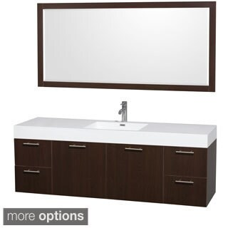 Wyndham Collection Amare 72-inch Single Bathroom Vanity, Acrylic-Resin Top, Integrated Sink, 70-inch Mirror