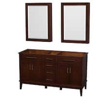 Wyndham Collection Hatton 60-inch Dark Chestnut Double Vanity, 24-inch Medicine Cabinets