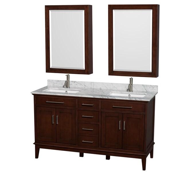 Wyndham Collection Hatton 60-inch Dark Chestnut Double Vanity, Undermount Square Sinks, 24-inch Medicine Cabinets