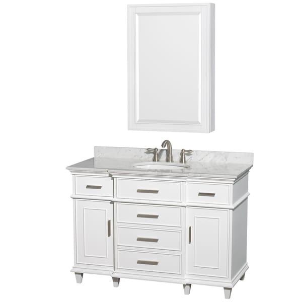 Wyndham Collection Berkeley 48 Inch White Single Vanity, Undermount Sink,  24 Inch