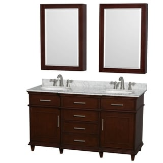 Wyndham Collection Berkeley 60-inch Dark Chestnut Double Vanity, Undermount Sinks, 24-inch Medicine Cabinets