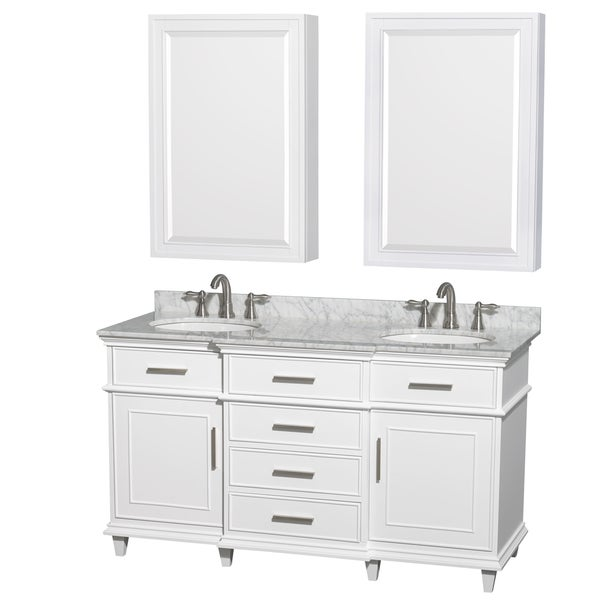 Shop wyndham collection berkeley 60 inch white double - Bathroom vanity and medicine cabinet combo ...