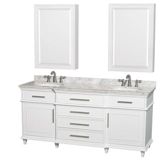 Wyndham Collection Berkeley 72-inch White Double Vanity, Undermount Sinks, 24-inch Medicine Cabinets