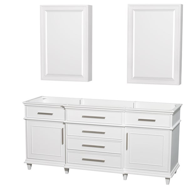 Wyndham Collection Berkeley 72-inch White Double Vanity, 24-inch Medicine Cabinets
