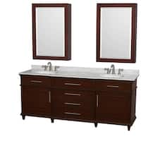 Wyndham Collection Berkeley 80-inch Dark Chestnut Double Vanity, Undermount Sinks, 24-inch Medicine Cabinets