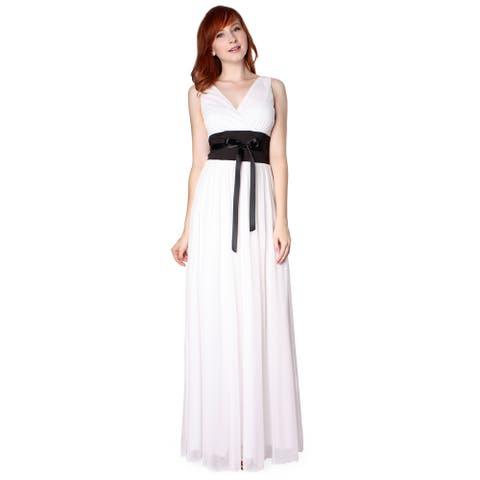 Evanese Women's Chiffon Jersey Satin Tie Long Dress