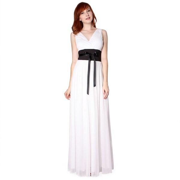 Evanese Women's Chiffon Jersey Satin Tie Long Dress. Opens flyout.