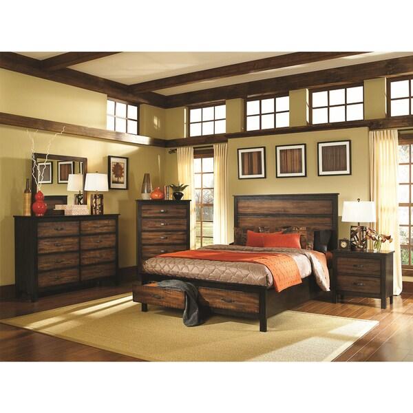 Cascade Two-tone Brown/ Black 4-piece Bedroom Set