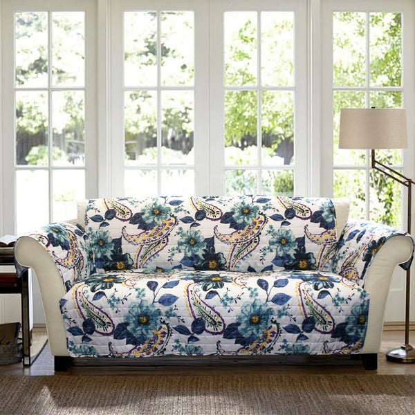 Lush Decor Floral Paisley Sofa Furniture Protector Slipcover Free Shipping