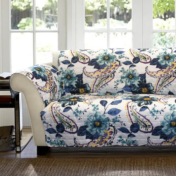 lush decor floral paisley loveseat furniture protector