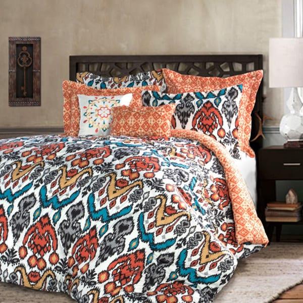 Lush Decor Jaipur Ikat Turquoise And Rust 7 Piece