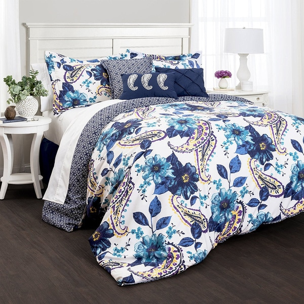 Lush Decor Floral Paisley Blue 7-Piece Comforter Set