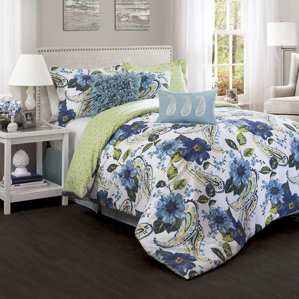 Lush decor floral paisley blue 7 piece comforter set for Decor 8 piece lunch set