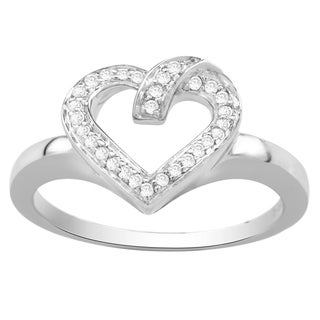 Divina Sterling Silver 1/10ct TDW Diamond Open Heart Fashion Ring (H-I, I3)