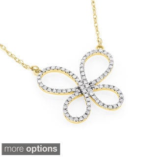 Luxurman 14k Gold 1/5ct TDW Diamond Butterfly Necklace (H-I, SI1-SI2)