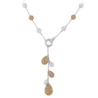 Luxurman 14k Two-tone Gold 23 7/8ct TDW White and Champagne Diamond Ball Necklace (H-I, VS1-VS2)