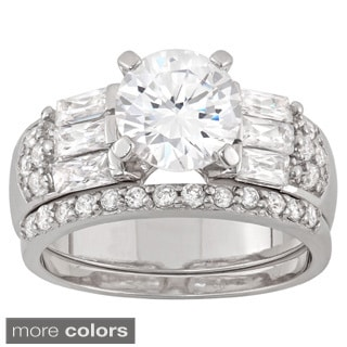 Gioelli Sterling Silver Round-cut Cubic Zirconia 2-piece Bridal Ring Set