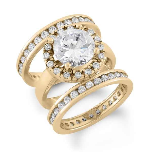 Gioelli Yellow Goldplated Sterling Silver Cubic Zirconia Bridal Ring Set