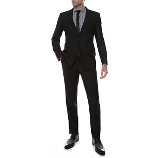 Ferrecci's 2pc 2 button Black Slim Fit Peak Lapel Suit
