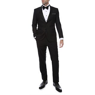 The Debonair by Ferrecci 2pc 2 button Black Slim Fit Peak Lapel Tuxedo