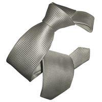 Dmitry Men's White Box Stitched Pattern Italian Silk Tie