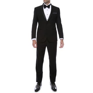 Ferrecci Mens Black Slim Fit Notch Lapel 2-piece Tuxedo