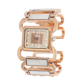 Via Nova Women's Bangle Cuff Watch with Rose Case and Bangle