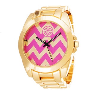 The Macbeth Collection Men's Watch Gold and Pink Zigzag Dial with Gold Case and Strap