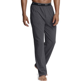 Hanes Men's Logo Waistband Solid Jersey Pants