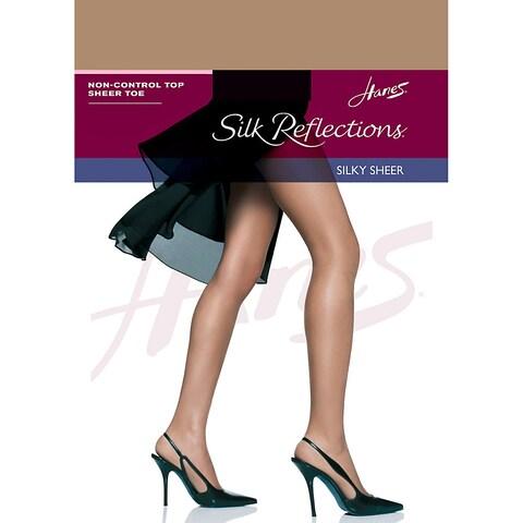 Hanes Silk Reflections Non-Control Top Sheer Toe Pantyhose