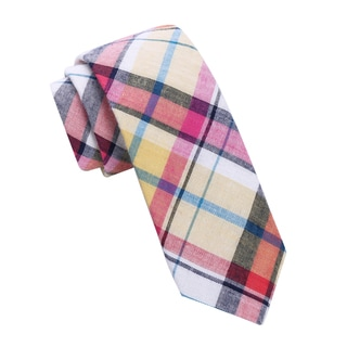 Skinny Tie Madness Men's Multi-Color Plaid Skinny tie