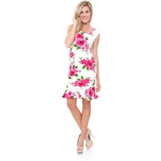 White Mark Women's 'Tiera' Ruffle-Trim Shift Dress (More options available)