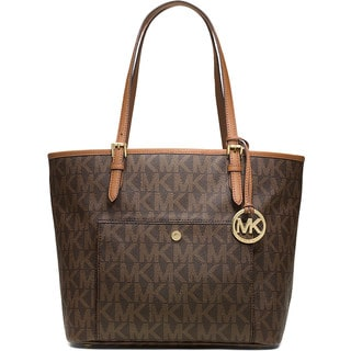 Michael Kors 'Jet Set' Large Jacquard Brown Signature Tote Bag