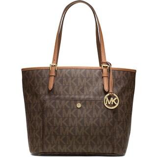 Michael Kors u0027Jet Setu0027 Large Jacquard Brown Signature Tote Bag