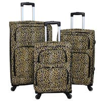 World Traveler Leopard 3-piece Expandable Lightweight Spinner Upright Luggage Set