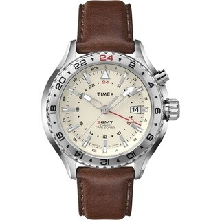 Timex Men's T2P426DH Intelligent Quartz 3-GMT Brown Leather Watch