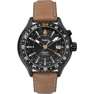 Timex Men's T2P427DH Intelligent Quartz 3-GMT Brown Leather Watch