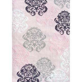 Brocade Pink Cotton Area Rug (4'7 x 7'7)