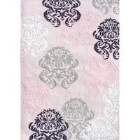 Brocade Pink Cotton Area Rug