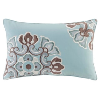 N Natori Fretwork Aqua Oblong Cotton Throw Pillow