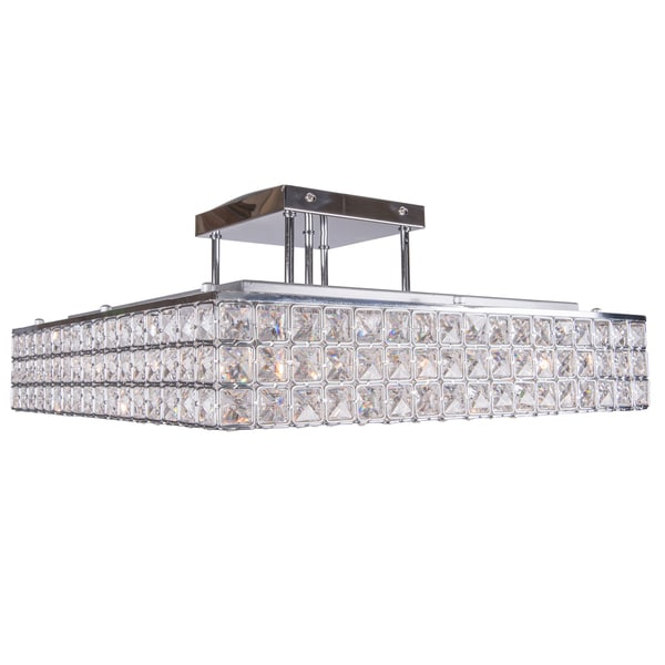 8 Light Chrome Square Semi Flush Mount With Clear European Crystals