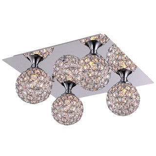 Chrome Square 4 Light Flush Mount with Clear European Crystals