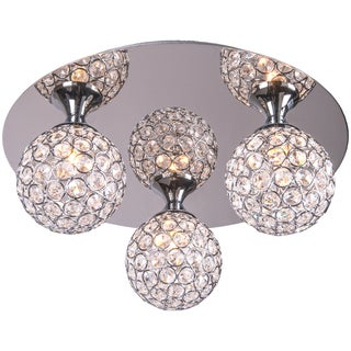 3 Light Chrome Round Flush Mount with Clear European Crystals