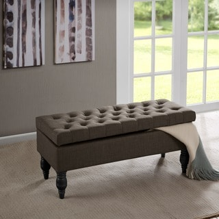 Madison Park Luke Button Tufted Storage Ottoman